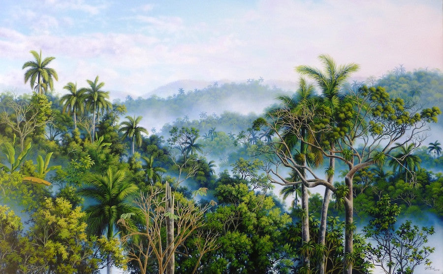 Stunning realist oil painting of a jungle landscape in Cuba