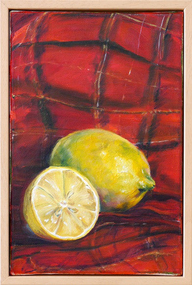 Original oil still life painting of 2 lemons sitting on a tartan rug