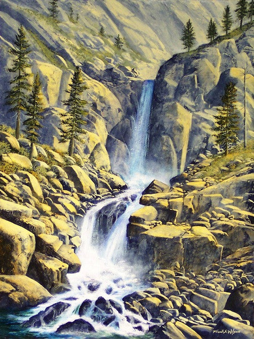 Oil painting of a waterfall of the High Sierra Nevada showing it's sculptured beauty in Winter