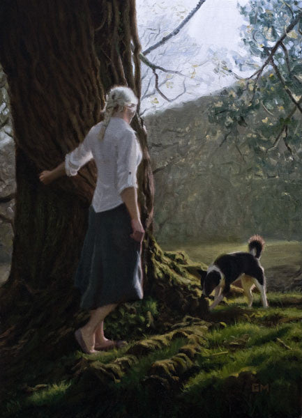 Oil painting of a woman walking her dog in a forest