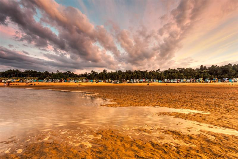 Beach photograph of Wells beach at dusk