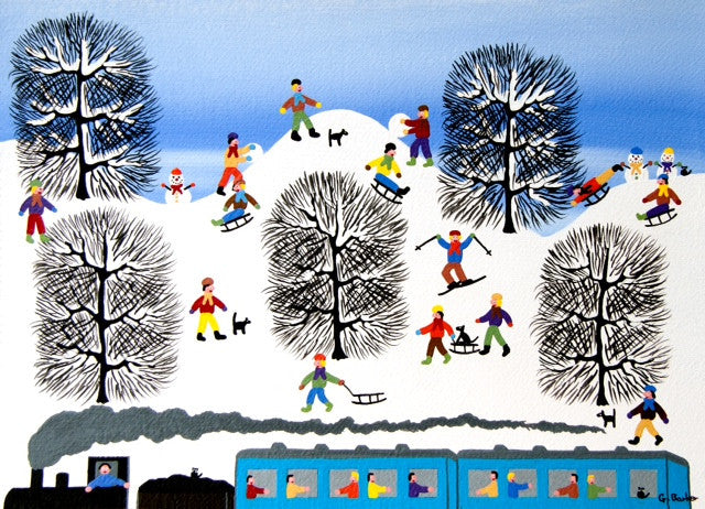 Colourful snow scene painting with kids sledging