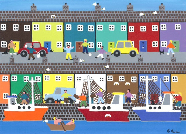 Colourful painting of a seaside village