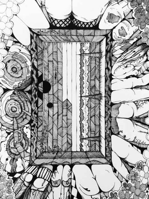 Ink drawing showing the door of intrigue