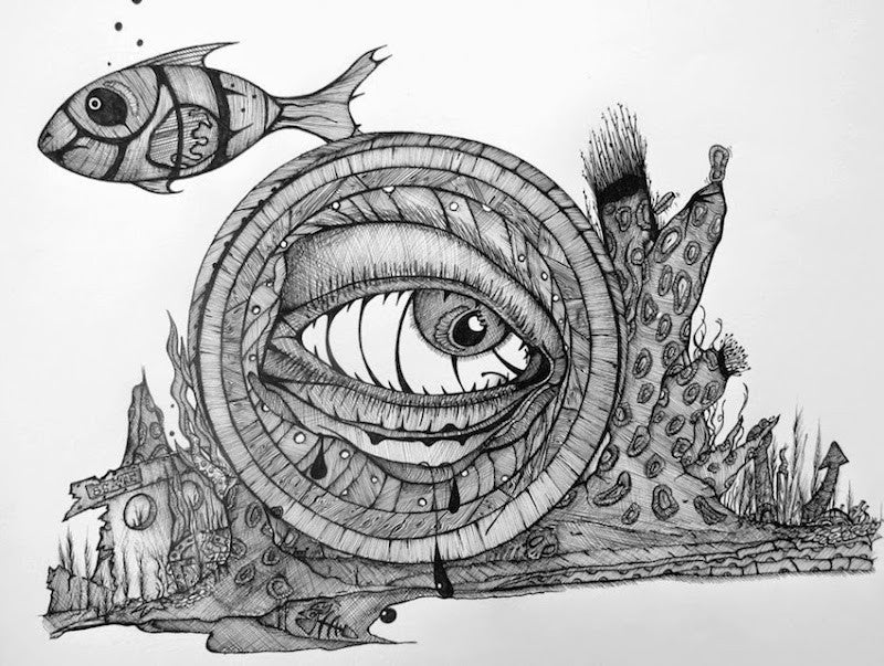 Surreal ink drawing of black and white fish