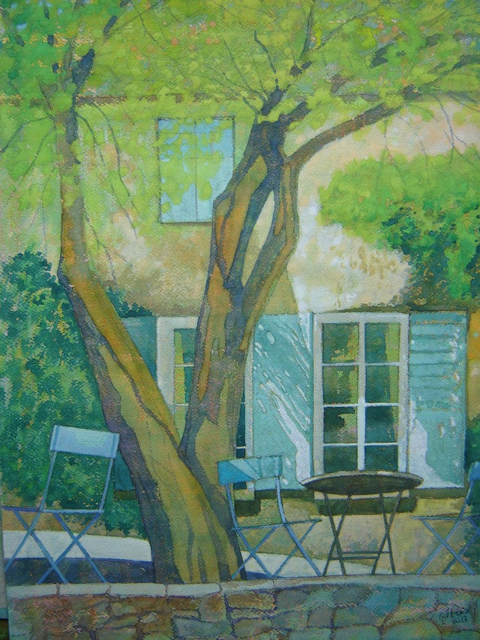 Lovely scene of a picnic table in a quite village in Provence