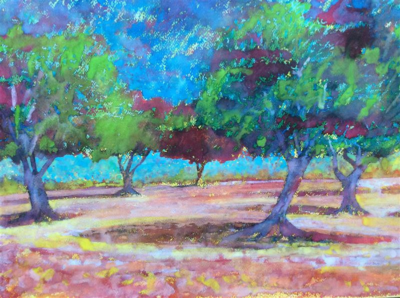 colourful original watercolour of an olive grove in Italy