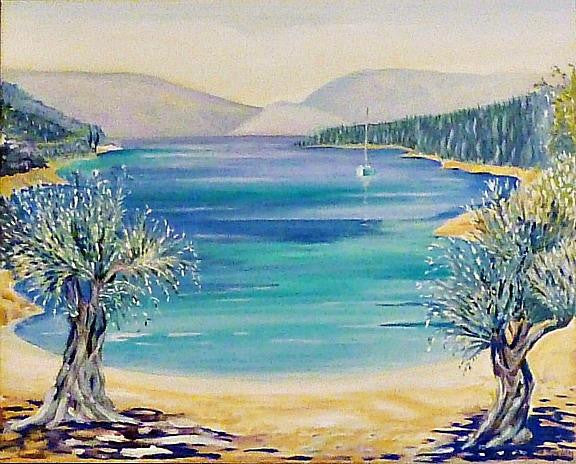 Oil painting of a bay close to Fiscardo in Kefalonia