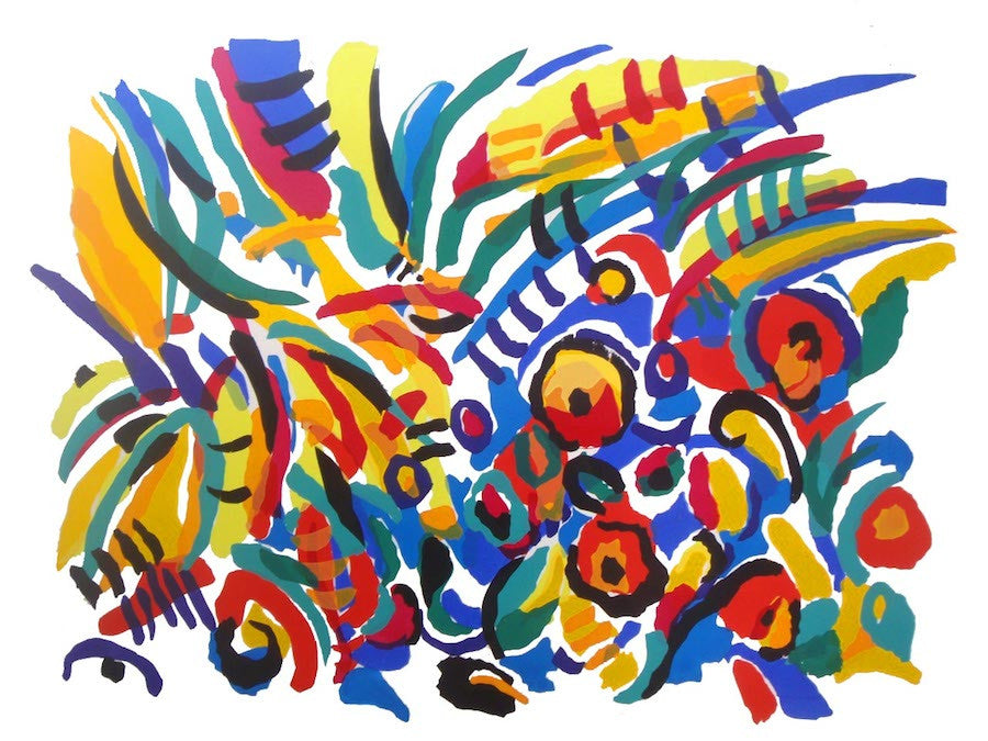 Original Screen Prints on paper of a colourful abstract