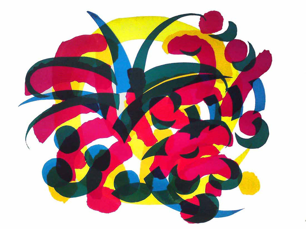 Original Screen Prints of a colourful abstract on paper