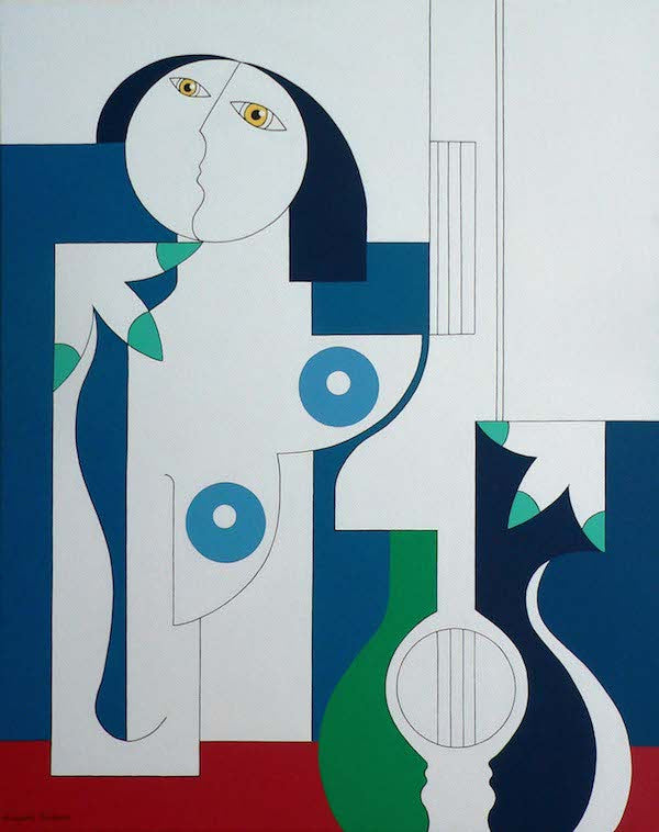 Abstract naked woman playing the double bass