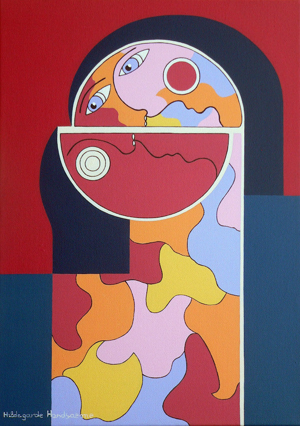 Colourful modern abstract painting of a woman