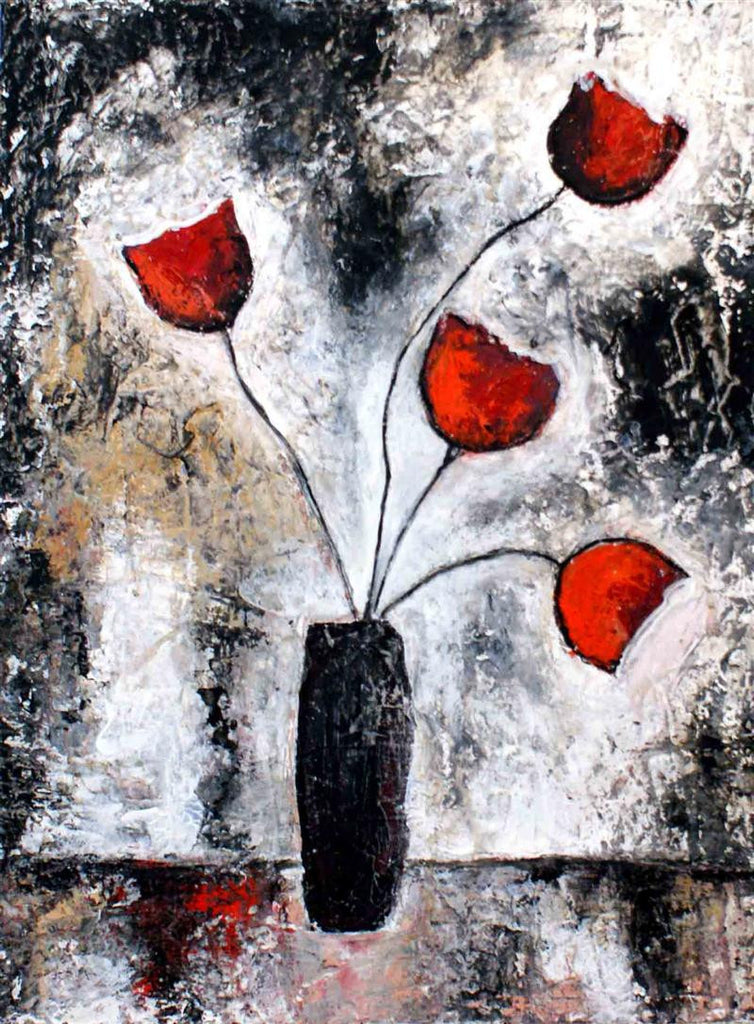 Beautiful original painting of a black vase with 4 red roses