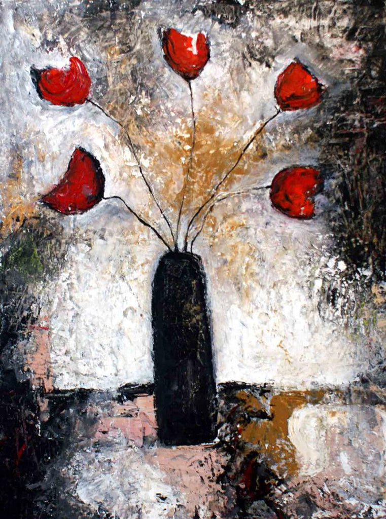 Beautiful original painting of a black vase with 5 red roses