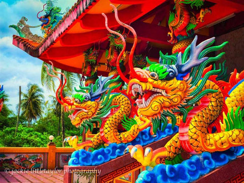Two dragons Tha Rua Shrine Phuket Thailand  Bright Impression