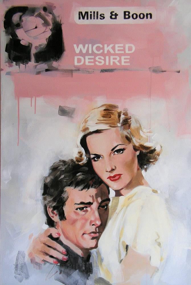 Original pop art painting of a mills and boon book cover