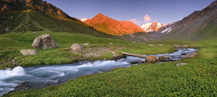 Sunset in Tian-Shan mountains, Kyrgyzstan