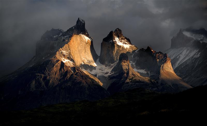 Photographic image of Cuernos dle Paine as the sun rises