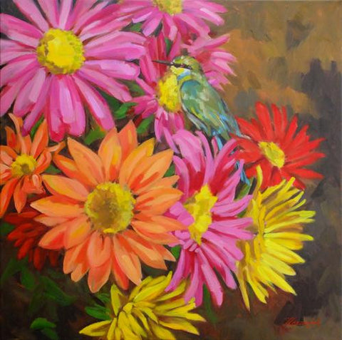 Bee Eater and Chrysanthemums