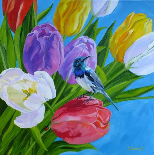 Rainbow Tulips and Sunbird