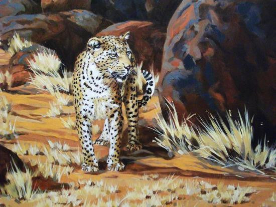 Original painting of a young leopard looking for prey in the jungle