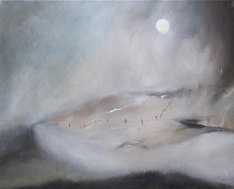 Original landscape painting of a harsh foggy day in winter