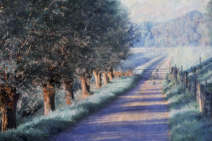 Beautiful landscape painting of a country lane in a Monet style finish