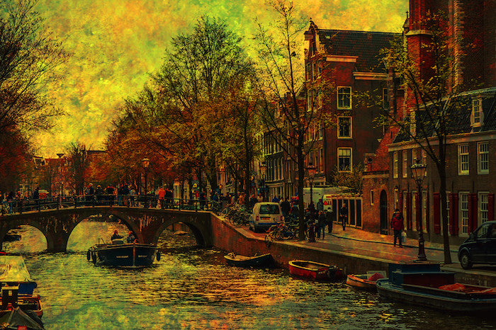 Digital art of vintage Amsterdam in a 17th century historical atmosphere
