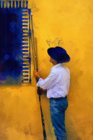 Spanish Man at the Yellow Wall