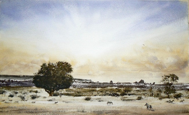 Painting of wild dogs stocking their prey in the African dessert