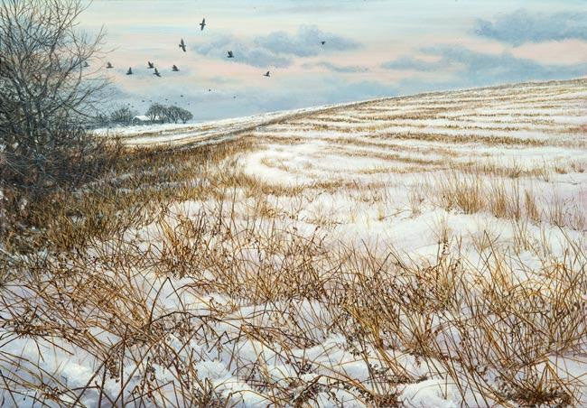 Original painting of a winter landscape scene with black jackdaws flying away