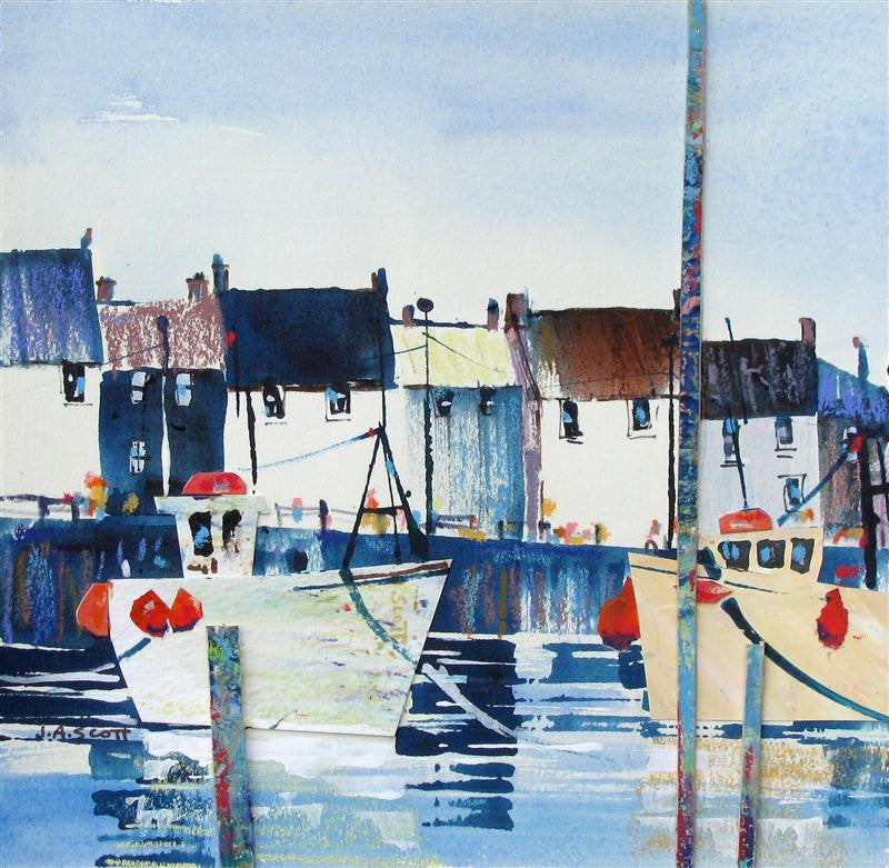Original mixed media painting of two boats sitting in a small village harbour