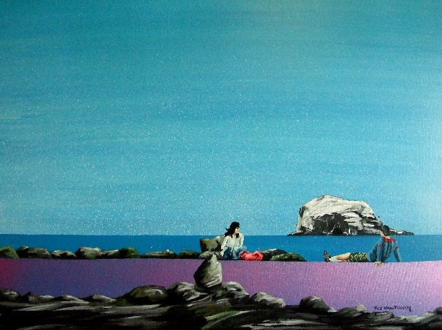 Original painting looking over the see to Bass Rock in Scotland