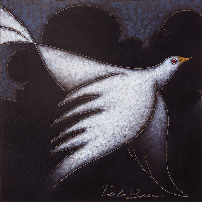 Original oil Painting of a white bird