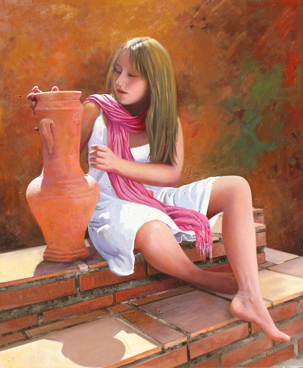 Stunning oil painting of a beautiful young girl sitting with a clay vase