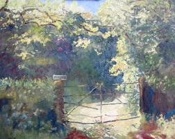 Lovely oil painting of a rusty old gate lost in a wood