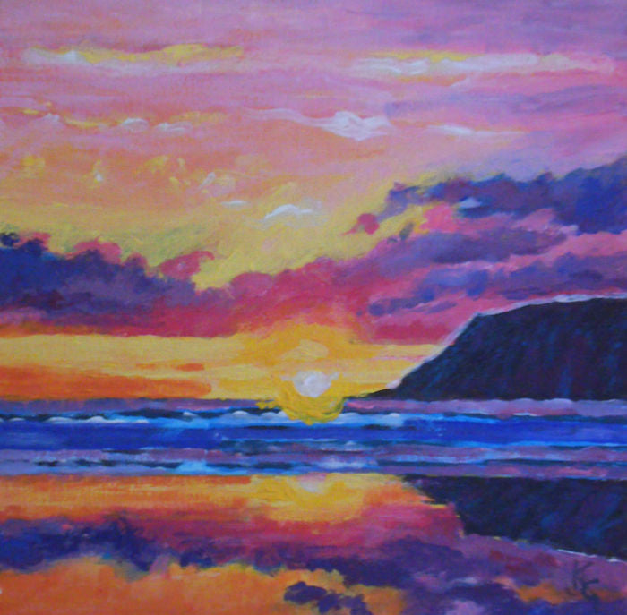 Painting of a purple sky as the sun sets across the water