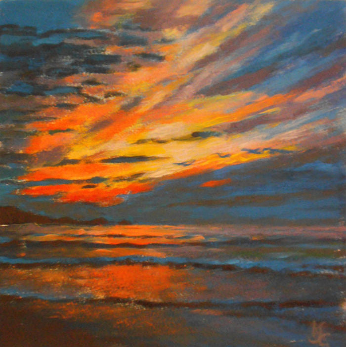 Original Painting of a beautiful sunset in acrylic