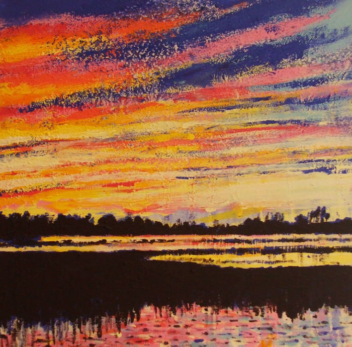 Impressionist landscape painting as the sun sets