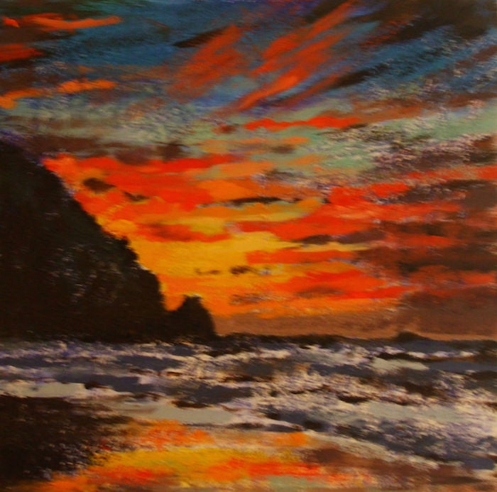 Beautiful original painting of the sun setting across the water