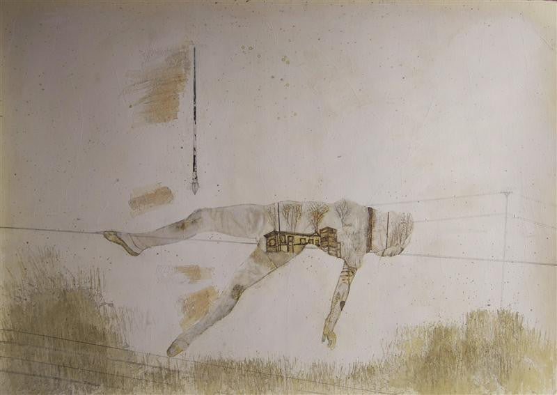 Abstract painting of a man lying on the ground