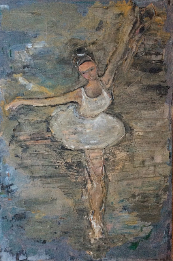 Oil painting of a young ballerina in a white tutu