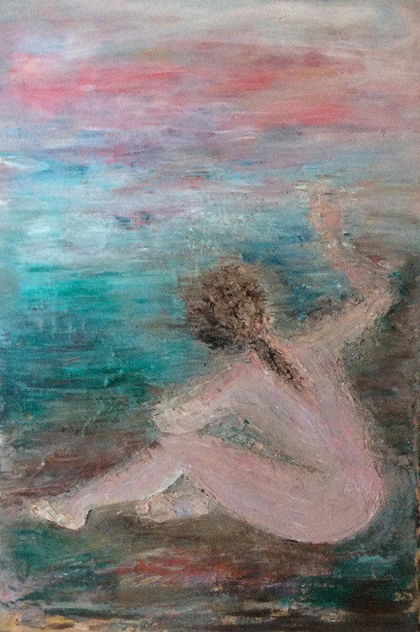 Oil painting of a nude woman waving on the beach