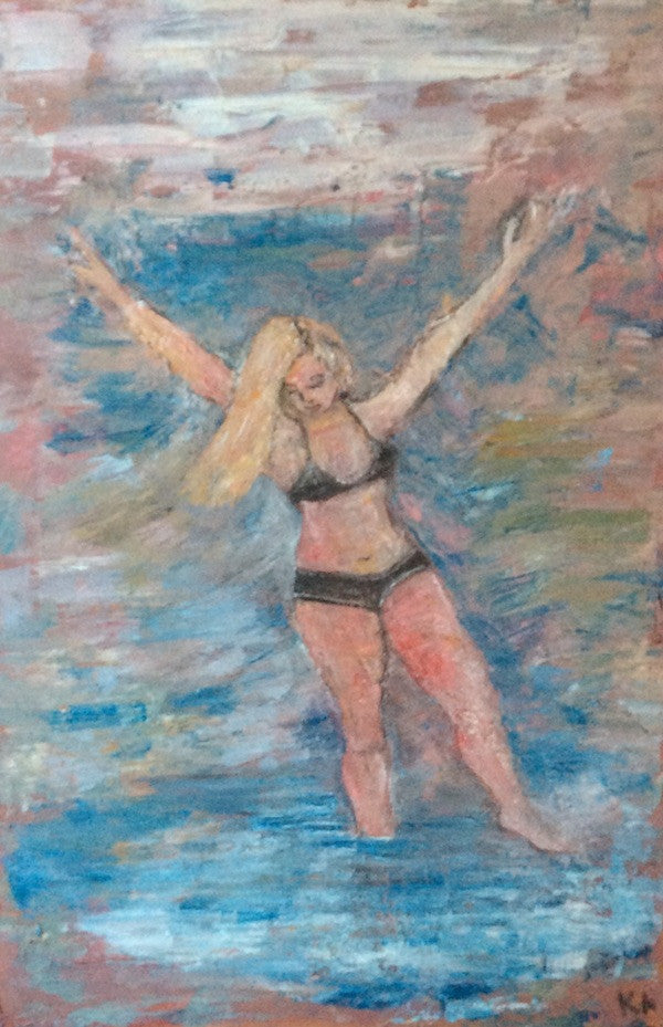 Original oil painting of a young girl jumping into water