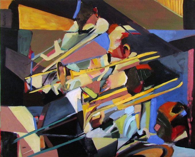 Colourful painting of 3 men playing their trumpets