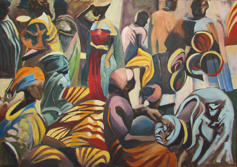 Original oil painting of a crowded street market