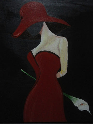 Lady in red with white calla lilly