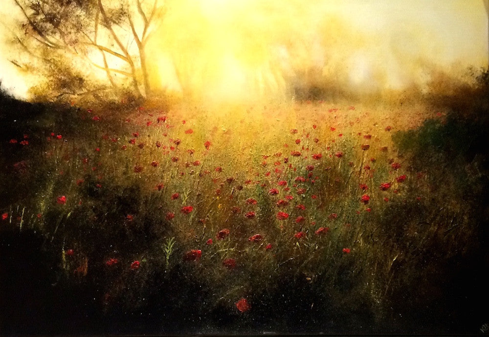 Oil painting of a poppy field in glorious sunshine