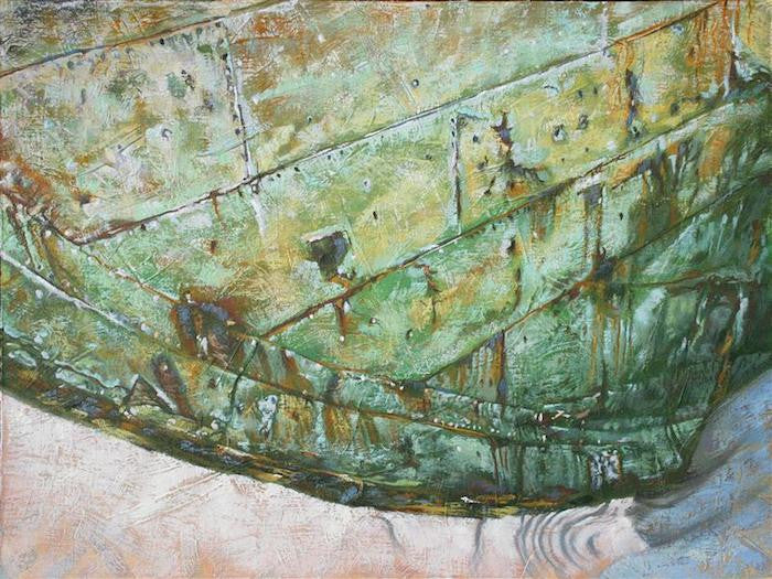 Painting of the hull of a ship abandoned on a beach on The Falkland Islands