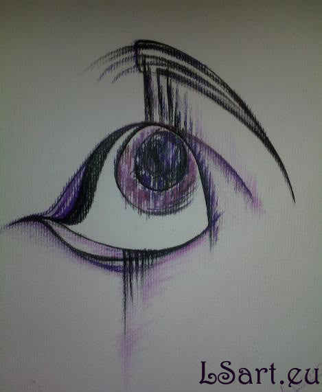 Pastel and pencil drawing of a woman's eye